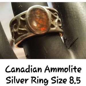 Canadian Ammolite Silver Ring 8.5